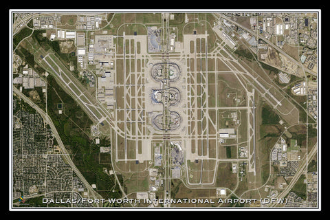 The Dallas - Ft Worth Intl Airport Texas Satellite Poster Map
