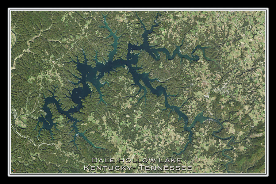 The Dale Hollow Lake Kentucky - Tennessee Satellite Poster Map