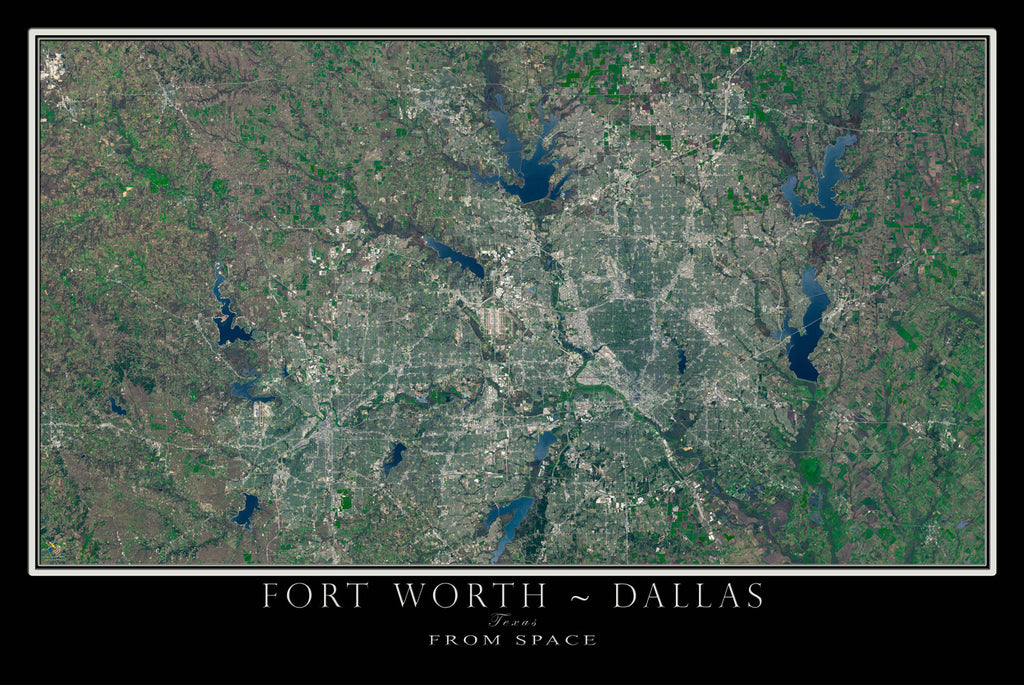 Dallas Fort Worth Texas Satellite Poster Map TerraPrintscom - Satellite map of texas