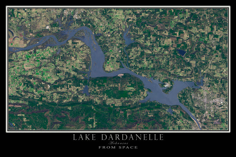 Lake Dardanelle Arkansas From Space Satellite Poster Map by TerraPrints.com. Available in multiple sizes with free shipping in the USA.