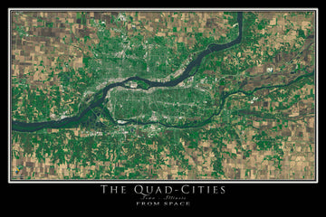 Davenport Quad Cities Iowa-Illinois Satellite Poster Map - TerraPrints.com