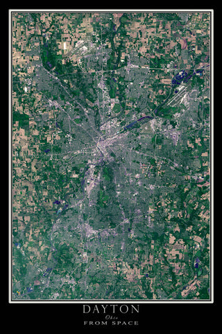 Dayton Ohio From Space Satellite Poster Map - TerraPrints.com
