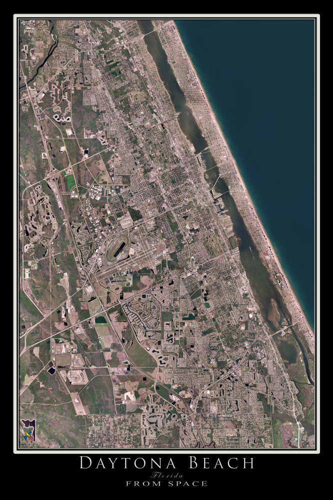 Daytona Beach Florida Satellite Poster Map