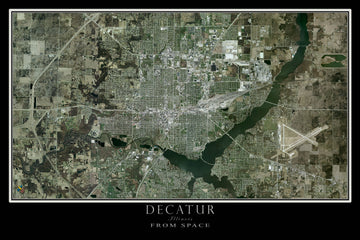 Decatur Illinois Satellite Poster Map - TerraPrints.com