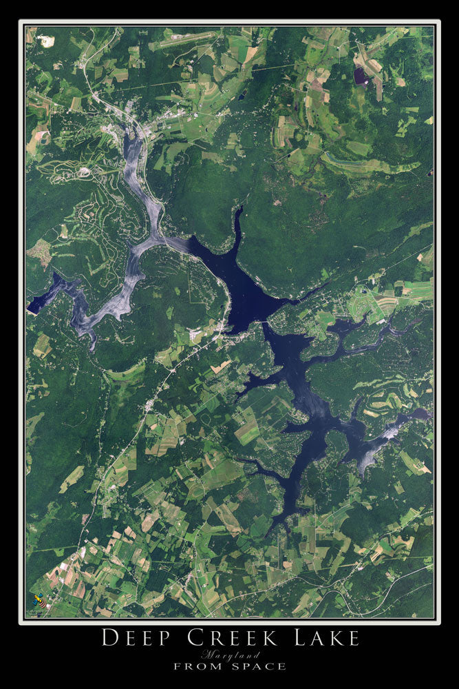 The Deep Creek Lake Maryland Satellite Poster Map
