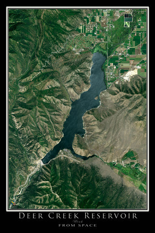 Deer Creek Reservoir Utah Satellite Poster Map