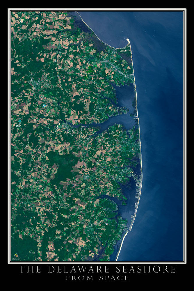 Delaware Seashore Satellite Poster Map - TerraPrints.com