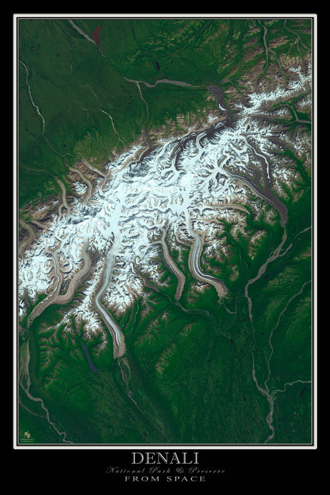 Denali National Park & Preserve Alaska From Space Satellite Poster Map - TerraPrints.com