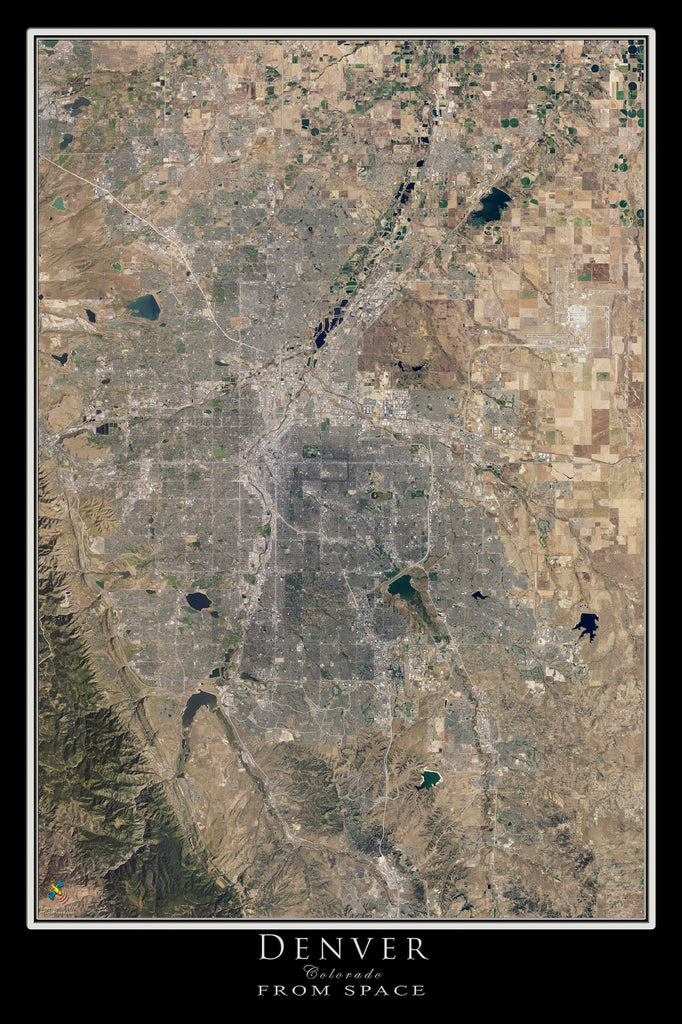 Denver Colorado Satellite Poster Map