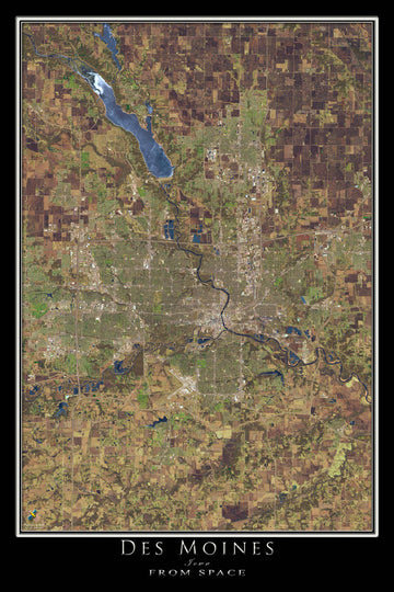 Des Moines Iowa Satellite Poster Map - TerraPrints.com