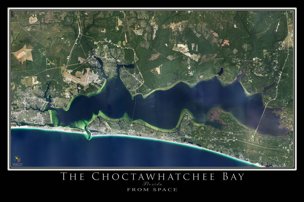 Destin - Choctawhatchee Bay Florida Satellite Poster Map