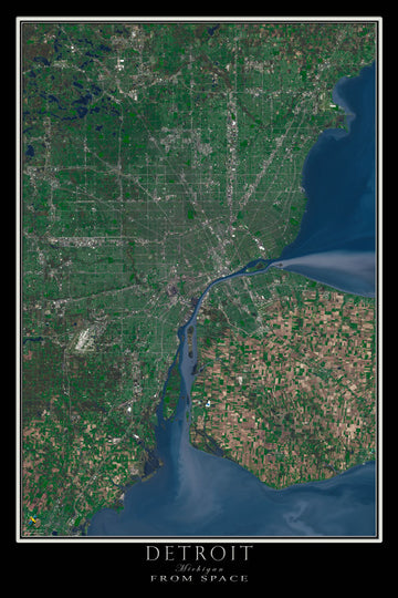 The Detroit Michigan Satellite Poster Map