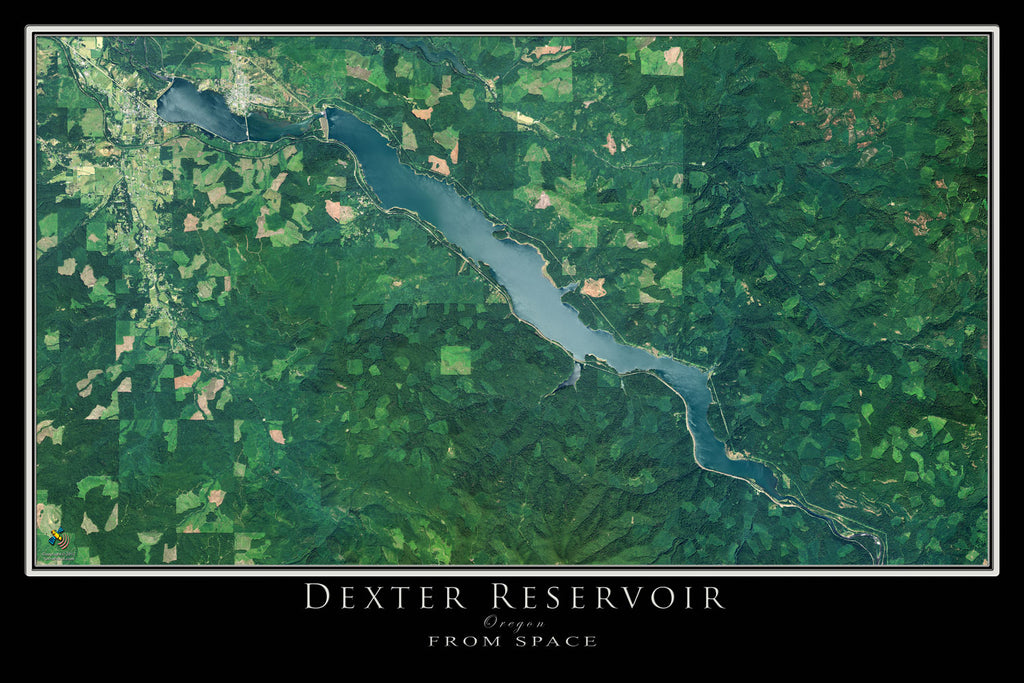 Dexter Lake Oregon Satellite Poster Map