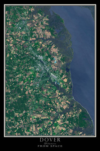 Dover Delaware From Space Satellite Poster Map - TerraPrints.com
