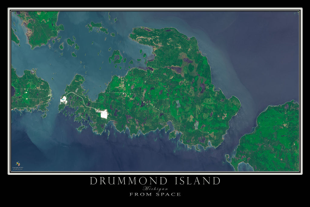 Drummond Island Michigan From Space Satellite Poster Map - TerraPrints.com