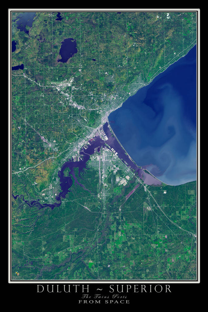 Duluth Minnesota - Superior Wisconsin Satellite Poster Map - TerraPrints.com