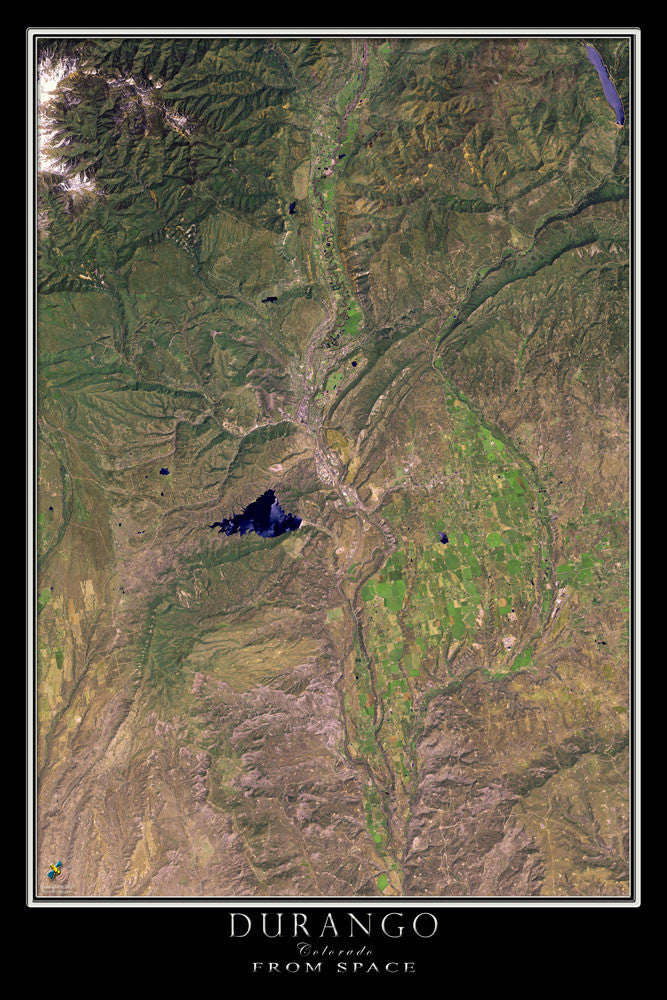 Durango Colorado From Space Satellite Poster Map - TerraPrints.com
