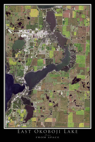 The East Okoboji Lake Iowa Satellite Poster Map