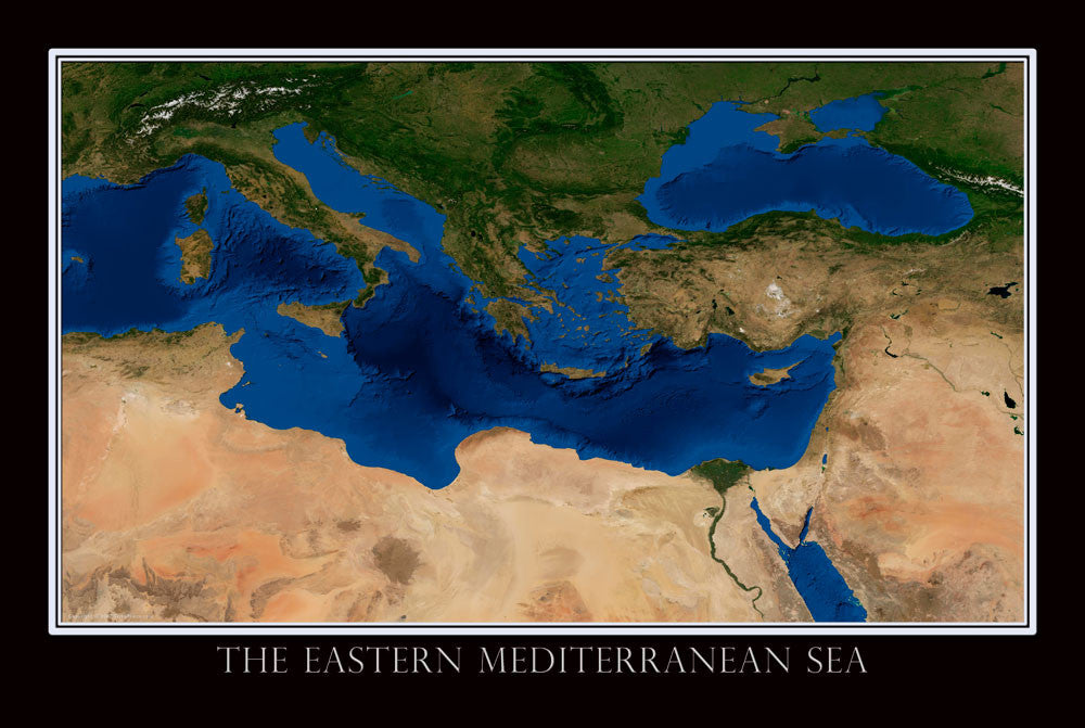 Eastern Mediterranean From Space Satellite Poster Map - TerraPrints.com