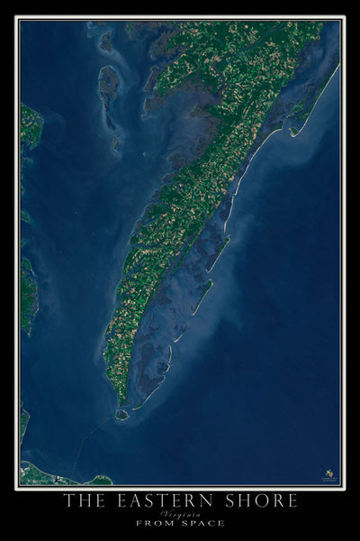 The Eastern Shore of Virginia From Space Satellite Poster Map by TerraPrints.com. Available in multiple sizes with free shipping in the USA.