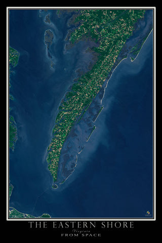 The Eastern Shore of Virginia Satellite Poster Map by TerraPrints.com. Available in multiple sizes with free shipping in the USA.