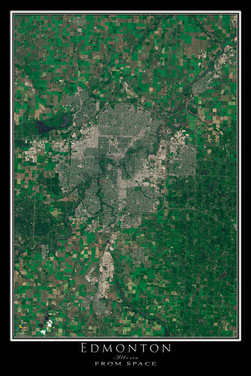 Edmonton Alberta Satellite Poster Map - TerraPrints.com