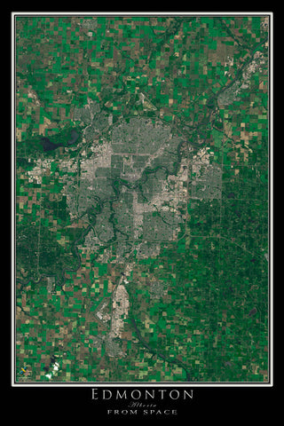 Edmonton Alberta From Space Satellite Poster Map - TerraPrints.com