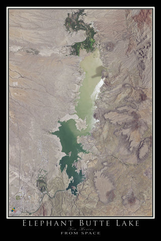 Elephant Butte Lake New Mexico From Space Satellite Poster Map - TerraPrints.com