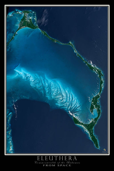 Eleuthera Bahamas From Space Satellite Poster Map - TerraPrints.com