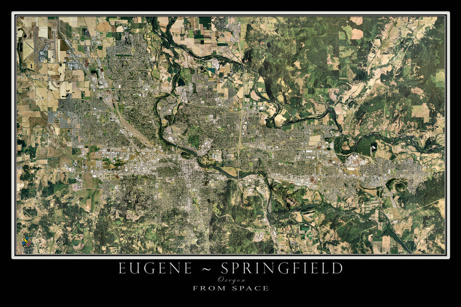 Eugene - Springfield Oregon Satellite Poster Map - TerraPrints.com