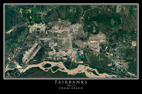 Fairbanks Alaska Satellite Poster Map