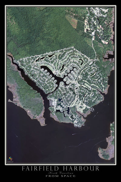 Fairfield Harbour North Carolina From Space Satellite Poster Map - TerraPrints.com
