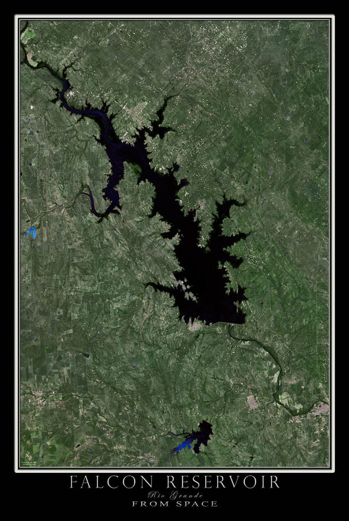 Falcon Lake Texas From Space Satellite Poster Map - TerraPrints.com