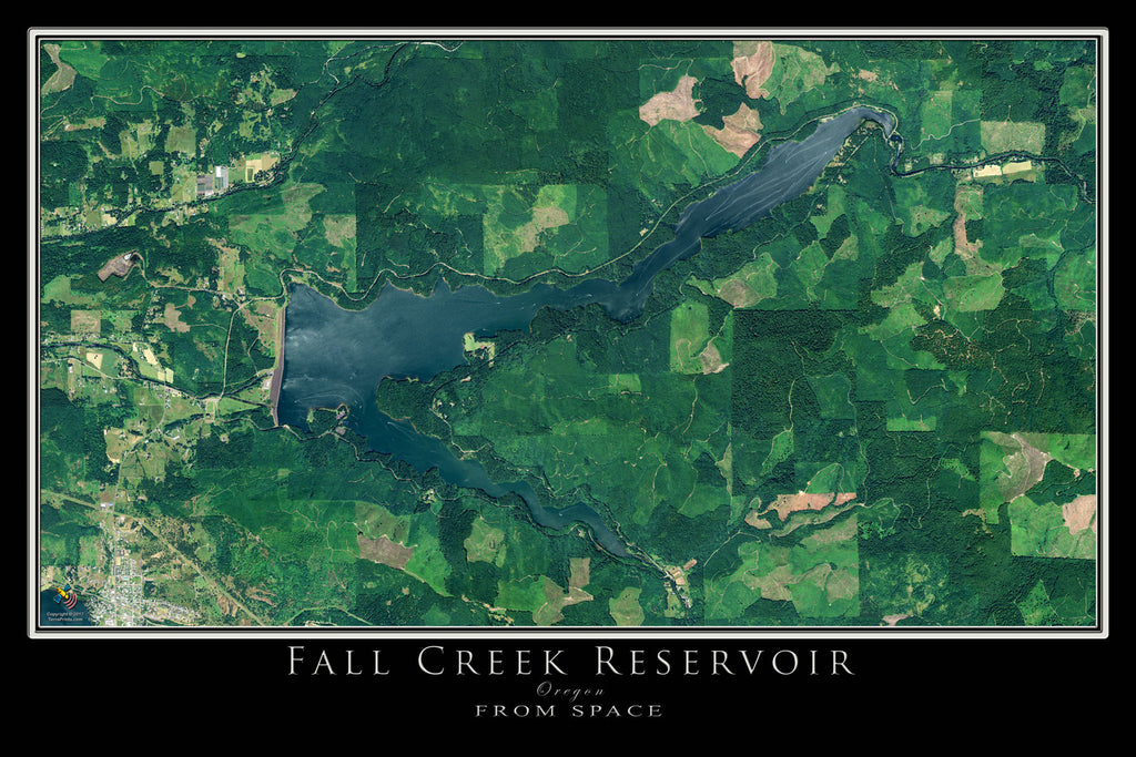 Fall Creek Lake Oregon Satellite Poster Map