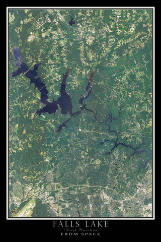 Falls Lake North Carolina From Space Satellite Poster Map - TerraPrints.com