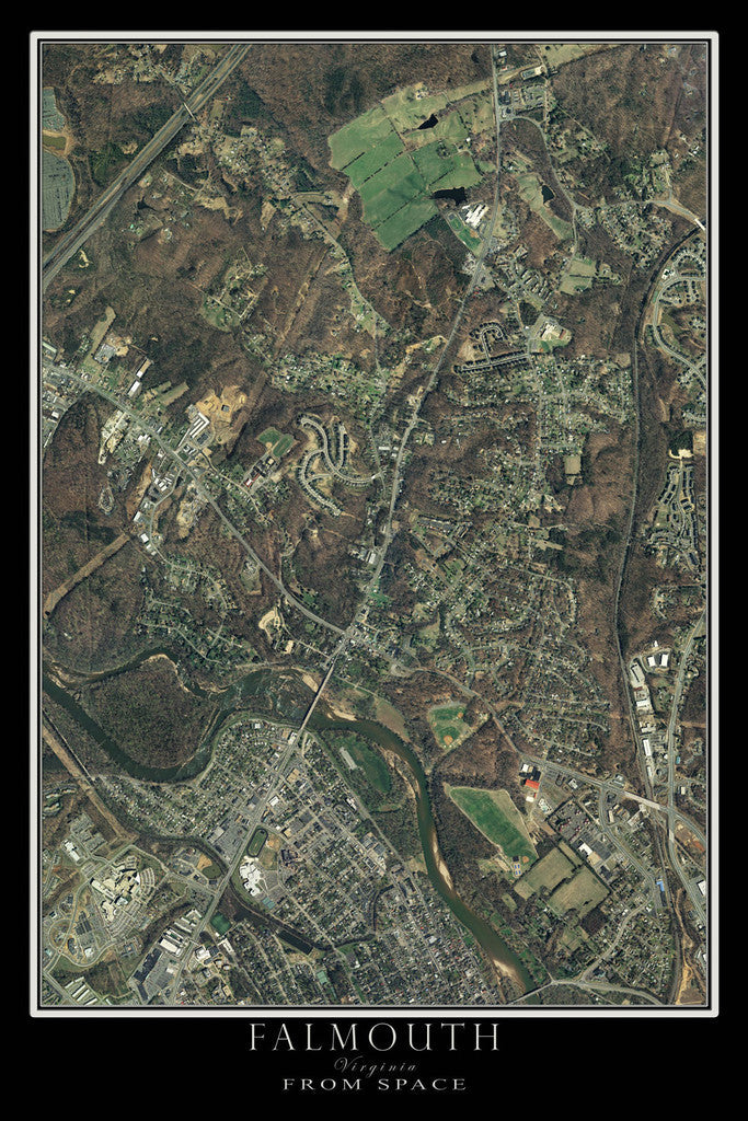 Falmouth Virginia From Space Satellite Poster Map - TerraPrints.com