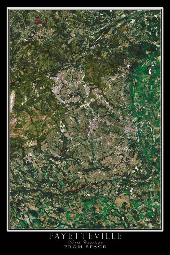 Fayetteville North Carolina From Space Satellite Poster Map - TerraPrints.com
