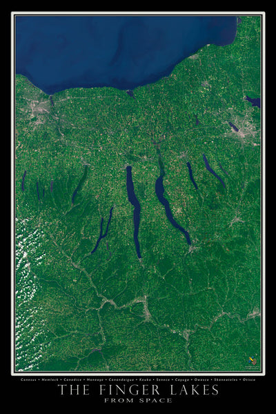Finger Lakes Region New York From Space Satellite Poster Map - TerraPrints.com