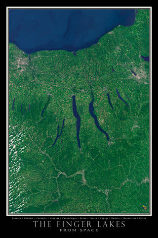 Finger Lakes Region New York From Space Satellite Poster Map