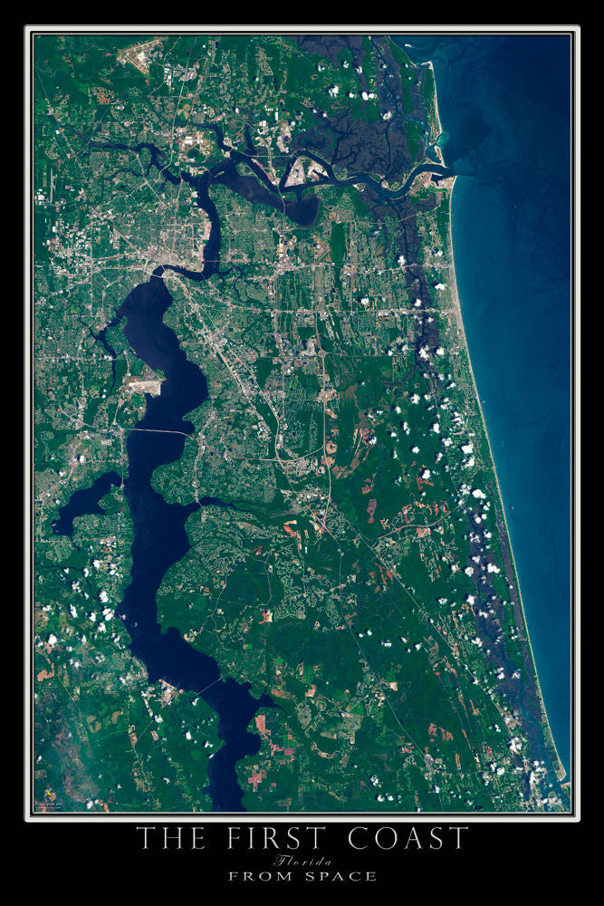 Jacksonville Florida - The First Coast From Space Satellite Poster Map - TerraPrints.com