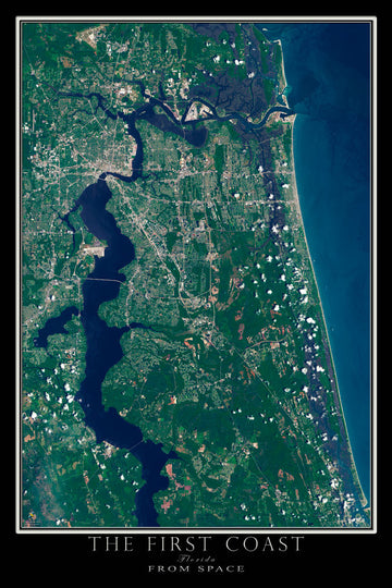 Jacksonville Florida - The First Coast Satellite Poster Map - TerraPrints.com