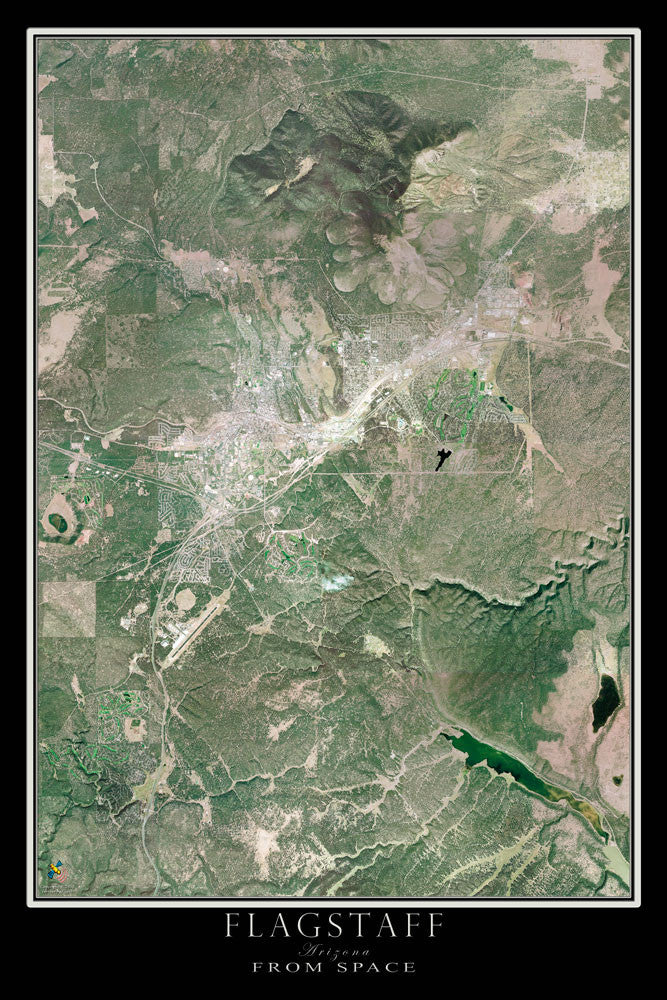 Flagstaff Arizona From Space Satellite Poster Map - TerraPrints.com