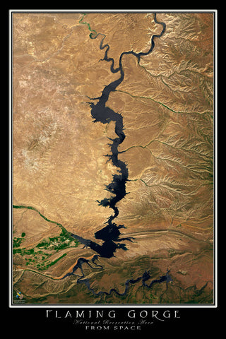 Flaming Gorge National Recreation Area Utah - Wyoming Satellite Poster Map - TerraPrints.com