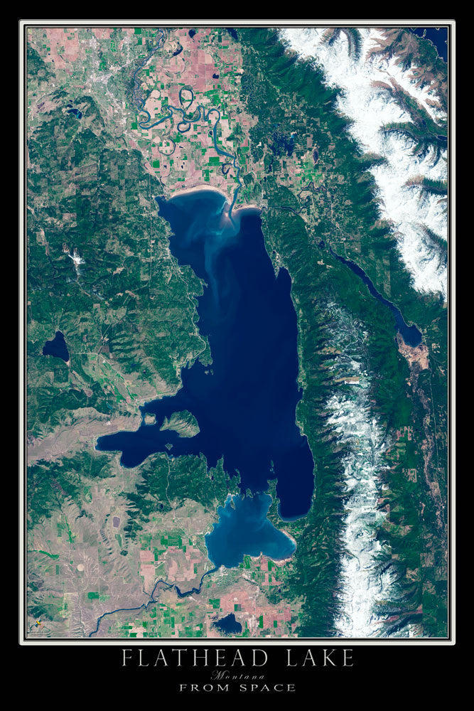 Flathead Lake Montana From Space Satellite Poster Map - TerraPrints.com