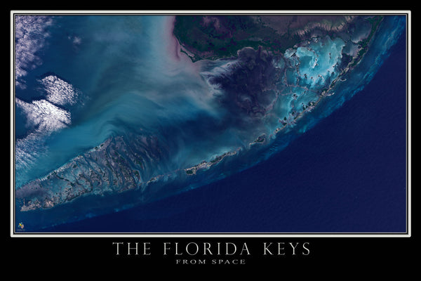 Florida Keys From Space Satellite Poster Map - TerraPrints.com