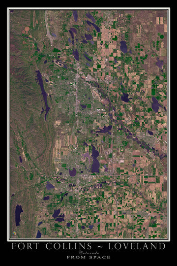 Fort Collins & Loveland Colorado Satellite Poster Map - TerraPrints.com