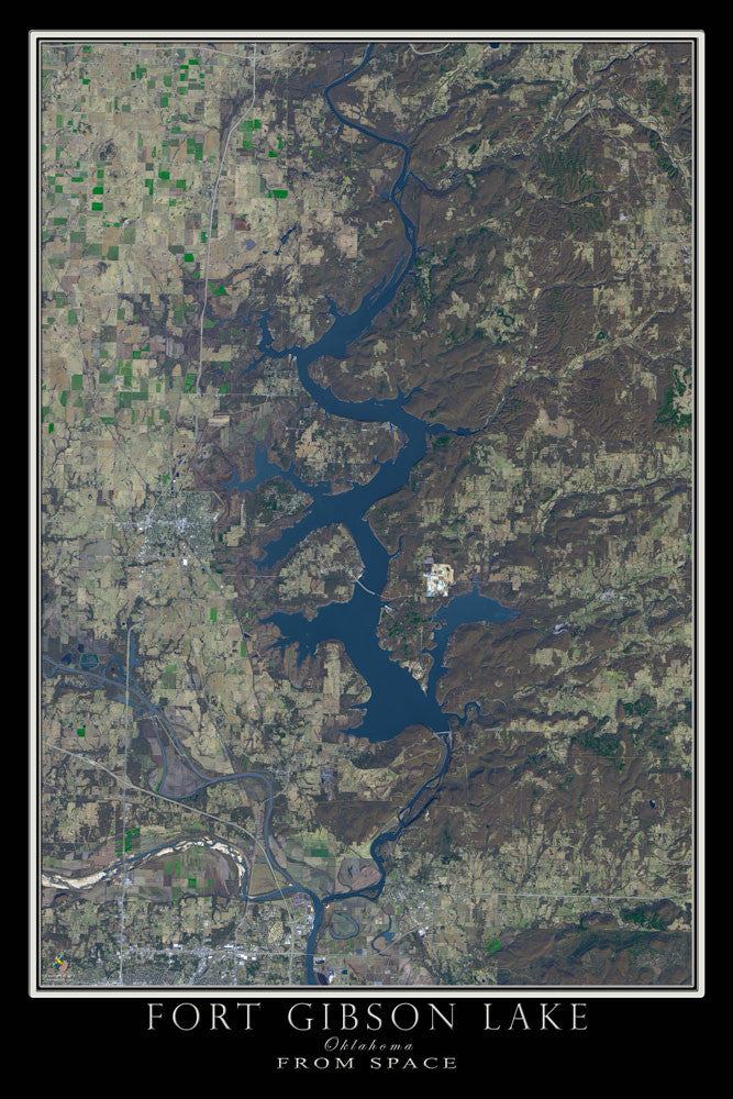 Fort Gibson Lake Oklahoma From Space Satellite Poster Map - TerraPrints.com