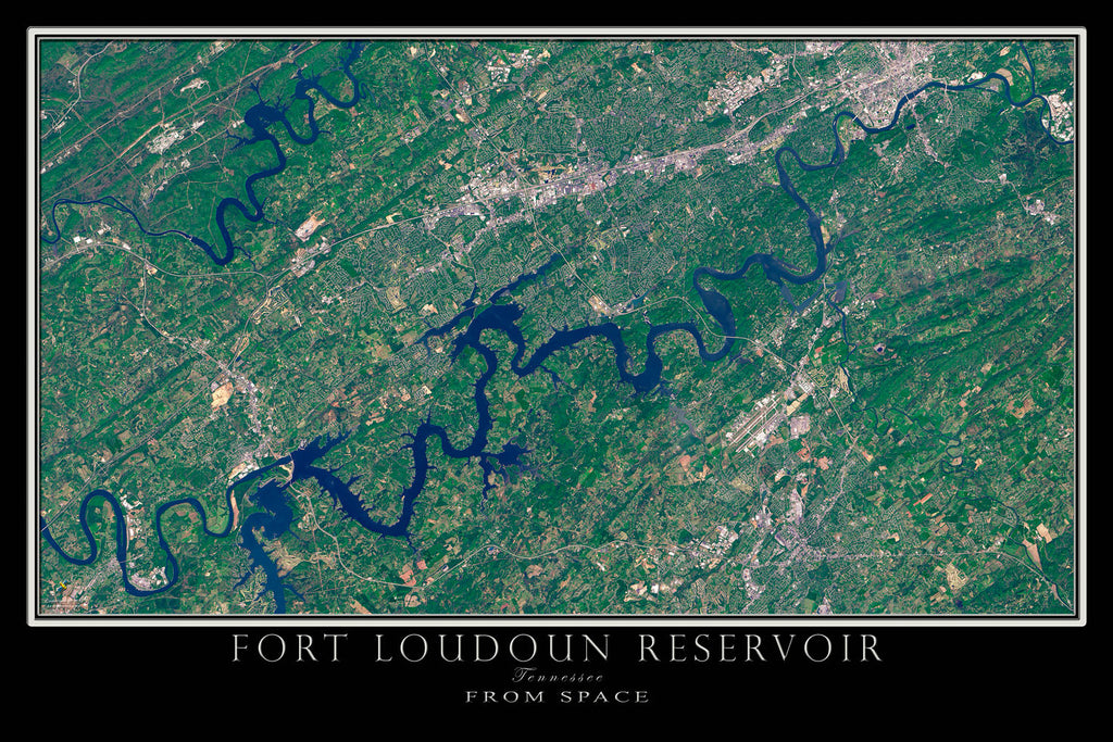 Fort Loudoun Lake Tennessee From Space Satellite Poster Map - TerraPrints.com