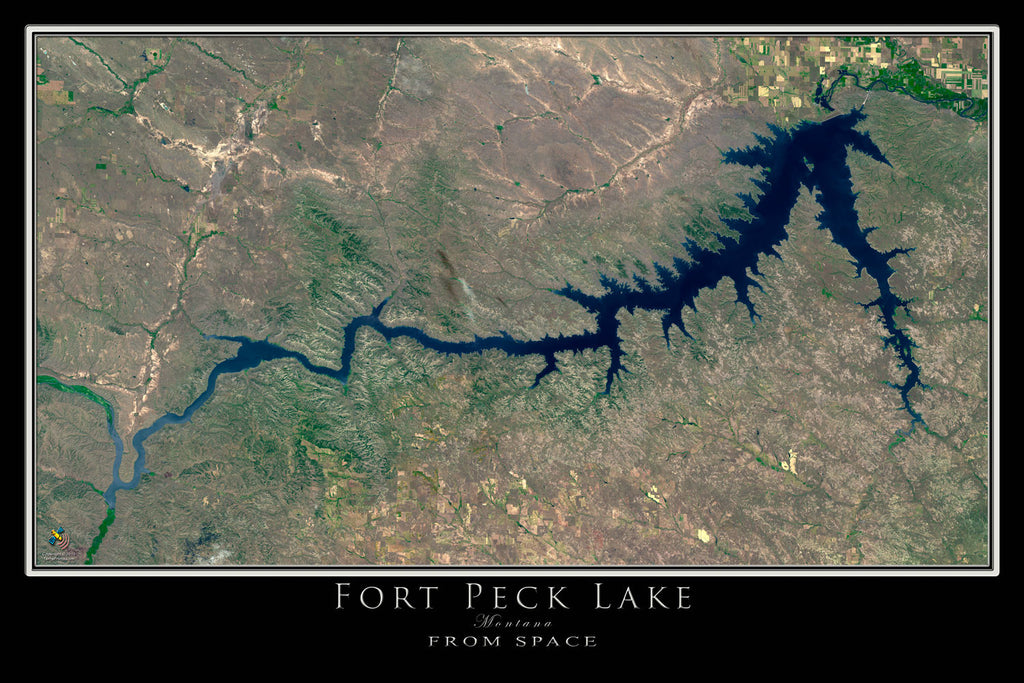 Fort Peck Lake Montana From Space Satellite Poster Map - TerraPrints.com