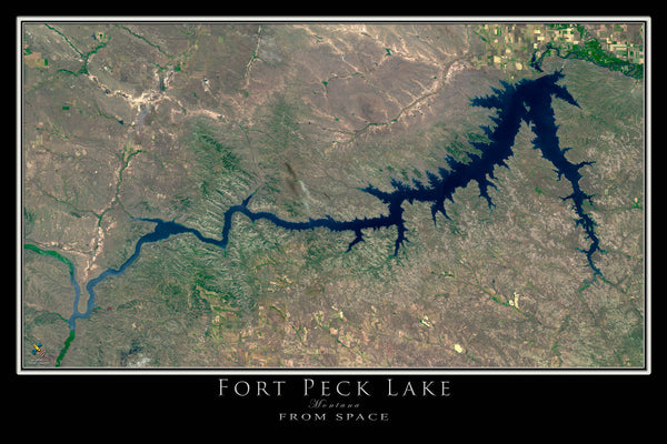 Fort Peck Lake Montana From Space Satellite Art Poster